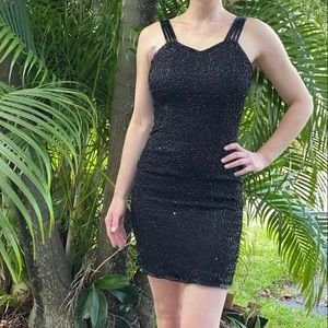 Dresses & Skirts - Vintage little black sequin dress PP